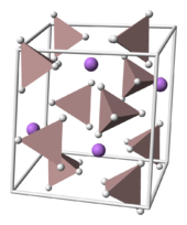 The crystal structure of LAH; Li atoms are purple and AlH4 tetrahedra are tan.