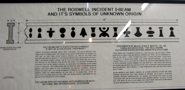 the 1947 UFO roswell incident I beam and its symbols of unknown origian major jesse a marcel SR unsolved myseries