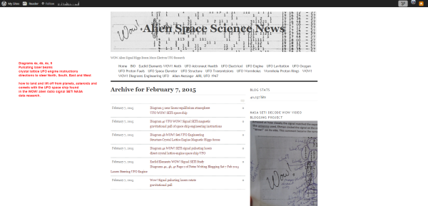 07 February 2015 Alien Space Science News wordpress Diagram 4a 4b 4c 5 WOW! signal SETI laser beams crystal lattice UFO engine steering lift off landing instructions