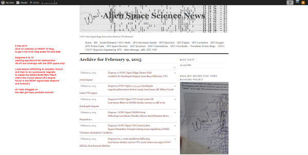 09 February 2015 Alien Space Science News WOW! Signal Diagrams 6, 7, 8, 9, 10 laser beams diffract obsidian mirrors quadrupole magnets higgs electric field